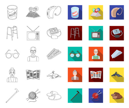 Human old age outline,flat icons in set collection for design. Pensioner, period of life vector symbol stock web illustration.