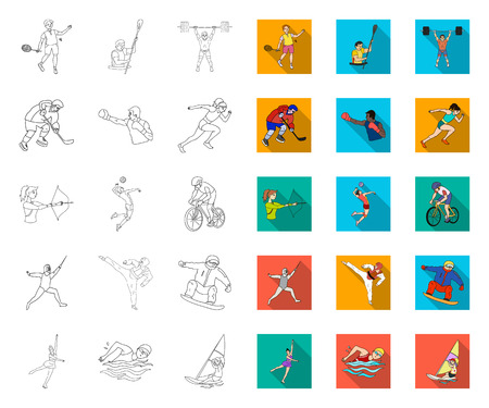 Different kinds of sports outline,flat icons in set collection for design. Athlete, competitions vector symbol stock web illustration. Illustration