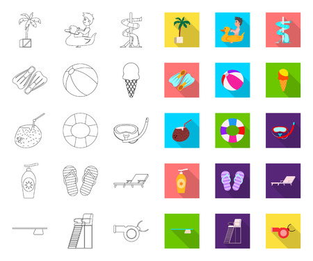 Vector illustration of pool and swimming. Collection of pool and activity vector icon for stock.