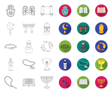 Religion and belief outline,flat icons in set collection for design. Accessories, prayer vector symbol stock web illustration. Illustration