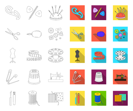 Sewing, atelier outline,flat icons in set collection for design. Tool kit vector symbol stock web illustration.