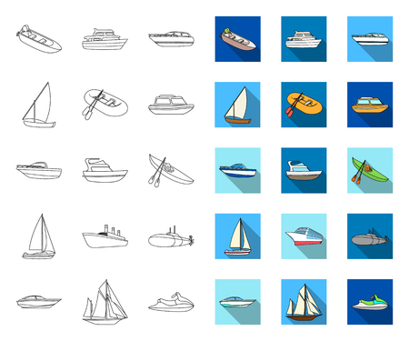Water and sea transport outline,flat icons in set collection for design. A variety of boats and ships vector symbol stock web illustration.