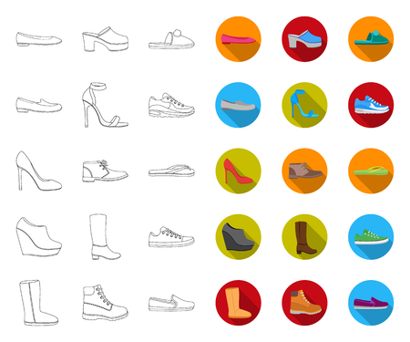 A variety of shoes outline,flat icons in set collection for design. Boot, sneakers vector symbol stock web illustration.