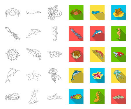 A variety of marine animals outline,flat icons in set collection for design. Fish and shellfish vector symbol stock web illustration.