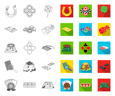 Casino and equipment outline,flat icons in set collection for design. Gambling and money vector symbol stock web illustration. Stock Illustratie