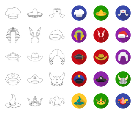 Different kinds of hats outline,flat icons in set collection for design.Headdress vector symbol stock web illustration. Illustration