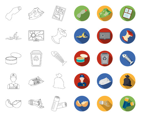 Garbage and waste outline,flat icons in set collection for design. Cleaning garbage vector symbol stock web illustration.