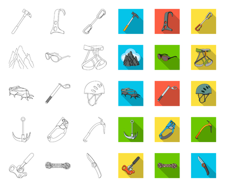 Mountaineering and climbing outline,flat icons in set collection for design. Equipment and accessories vector symbol stock web illustration.