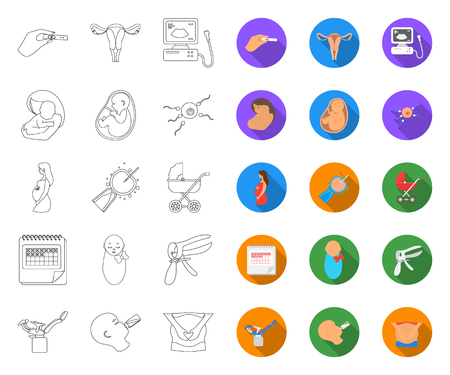 Woman and pregnancy outline,flat icons in set collection for design. Gynecology and equipment vector symbol stock web illustration.