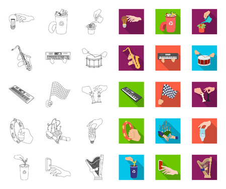 Manipulation by hands outline,flat icons in set collection for design. Hand movement vector symbol stock web illustration. Ilustrace