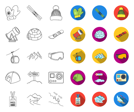 Ski resort and equipment outline,flat icons in set collection for design. Entertainment and recreation vector symbol stock web illustration.