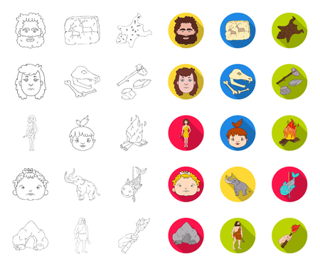 Life in the Stone Age outline,flat icons in set collection for design. Ancient people vector symbol stock web illustration.