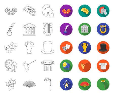 Theatrical art outline,flat icons in set collection for design.Theater equipment and accessories vector symbol stock web illustration. Иллюстрация