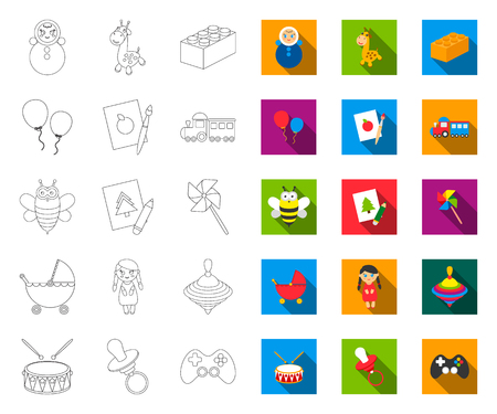 Childrens toy outline,flat icons in set collection for design. Game and bauble vector symbol stock web illustration.