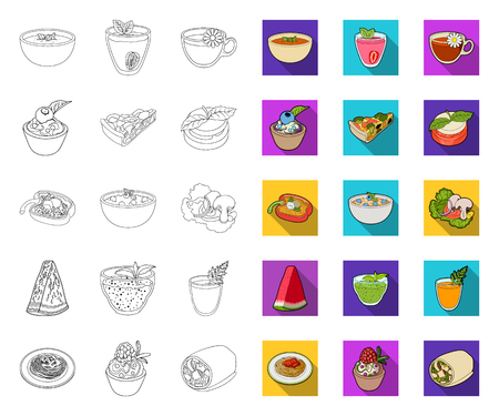 Vegetarian dish outline,flat icons in set collection for design.Vegetable and milk food vector symbol stock web illustration.