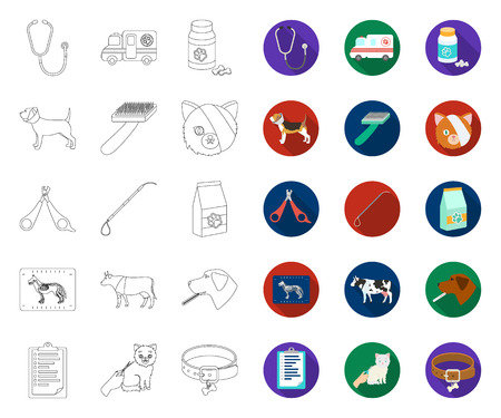 Veterinary clinic outline,flat icons in set collection for design. Treatment of a pet vector symbol stock web illustration. Vektorové ilustrace