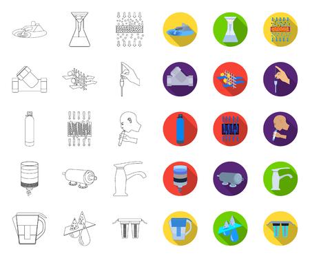Esquema del sistema de filtración de agua, planos iconos de colección set de diseño. Ilustración de stock de símbolo de vector de equipo de limpieza.