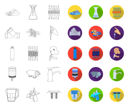 Water filtration system outline,flat icons in set collection for design. Cleaning equipment vector symbol stock web illustration. Ilustração