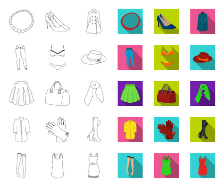 Womens Clothing outline,flat icons in set collection for design.Clothing Varieties and Accessories vector symbol stock web illustration.