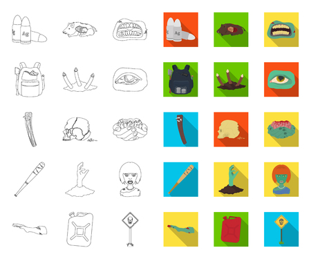 Zombies and Attributes outline,flat icons in set collection for design. Dead man vector symbol stock web illustration.