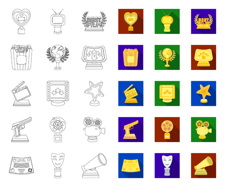 Film awards and prizes outline,flat icons in set collection for design. The World Film Academy vector symbol stock web illustration. Stock Illustratie