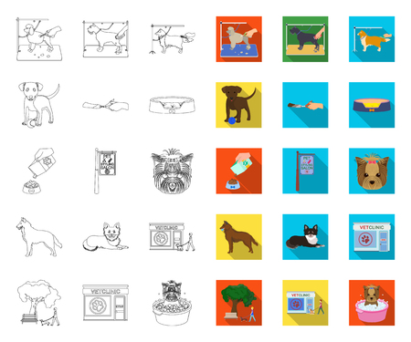 Pet outline,flat icons in set collection for design. Care and education vector symbol stock web illustration. Ilustrace