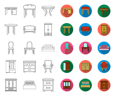 Furniture and interior outline,flat icons in set collection for design.Home furniture vector symbol stock web illustration. Illustration