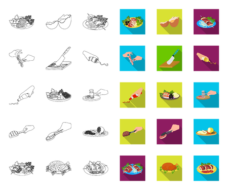 Cooking food outline,flat icons in set collection for design. Kitchen, equipment and tools vector symbol stock web illustration. Ilustrace
