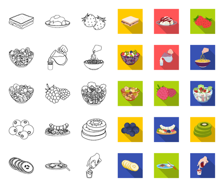 Dessert fragrant outline,flat icons in set collection for design. Food and sweetness vector symbol stock web illustration. Ilustrace