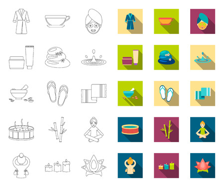 Spa salon and equipment outline,flat icons in set collection for design. Relaxation and rest vector symbol stock web illustration.