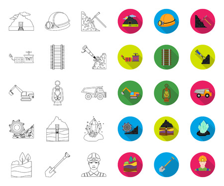 Mining industry outline,flat icons in set collection for design. Equipment and tools vector symbol stock web illustration. Illustration