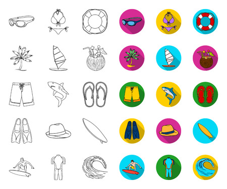 Surfing and extreme outline,flat icons in set collection for design. Surfer and accessories vector symbol stock web illustration.