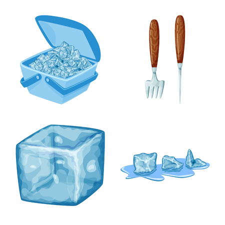 Vector illustration of frost and water  icon. Set of frost and wet  stock symbol for web. Stok Fotoğraf - 122534782