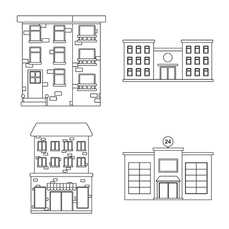 Vector design of architecture and exterior  sign. Collection of architecture and city stock symbol for web.