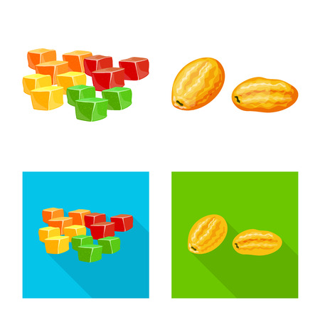Isolated object of food and raw icon. Set of food and nature vector icon for stock.