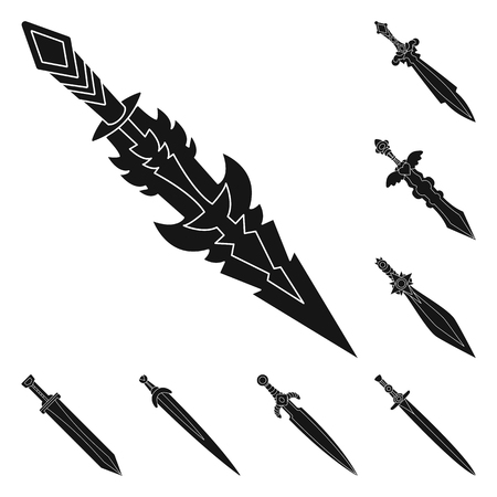 Isolated object of sharp and blade symbol. Collection of sharp and dagger stock vector illustration. Vector Illustration