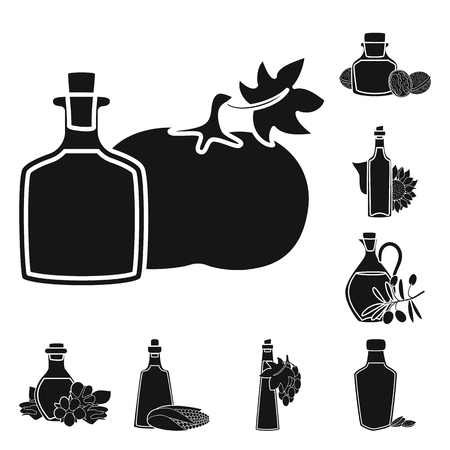 Vector illustration of oil and agriculture. Set of oil and glass  vector icon for stock. Imagens - 122511596