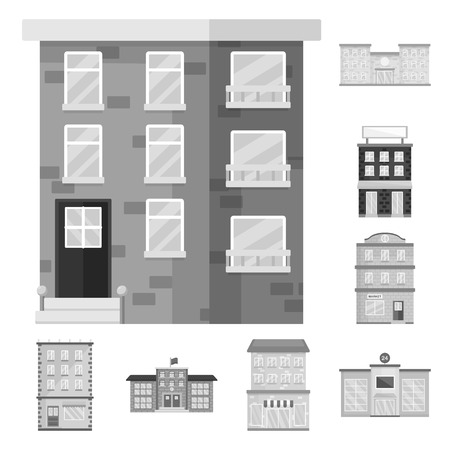 Isolated object of construction  and city icon. Set of construction  and center stock vector illustration.