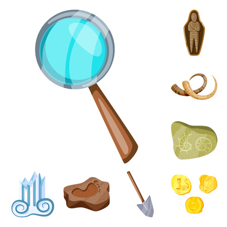 Vector design of archaeology  and historical. Set of archaeology  and excavation stock symbol for web.
