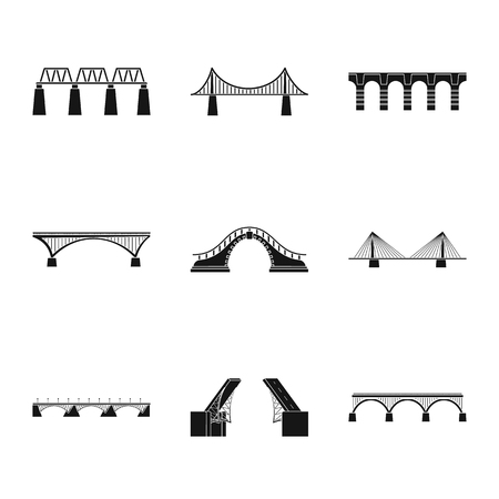 Vector illustration of construct and side symbol. Collection of construct and bridge vector icon for stock.