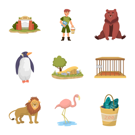 Vector illustration of zoo and park icon. Set of zoo and animal stock vector illustration.