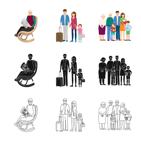 Vector design of character and avatar  icon. Collection of character and portrait stock vector illustration.