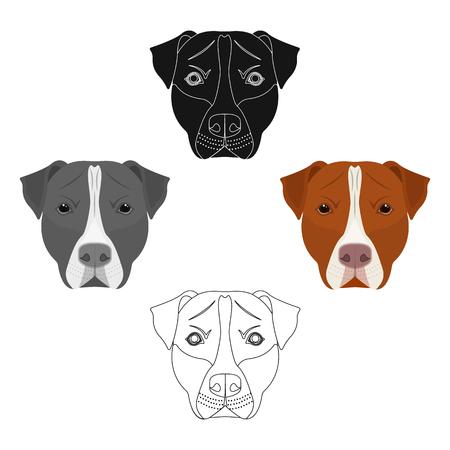 Dog breed, Stafford.Muzzle of Stafford single icon in cartoon,black style vector symbol stock illustration web. Çizim