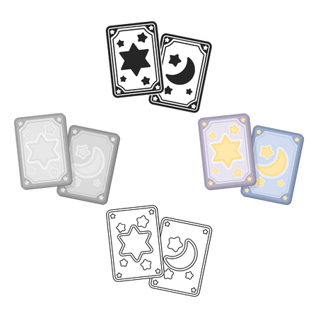 Tarot cards icon in cartoon,black style isolated on white background. Black and white magic symbol stock vector illustration.