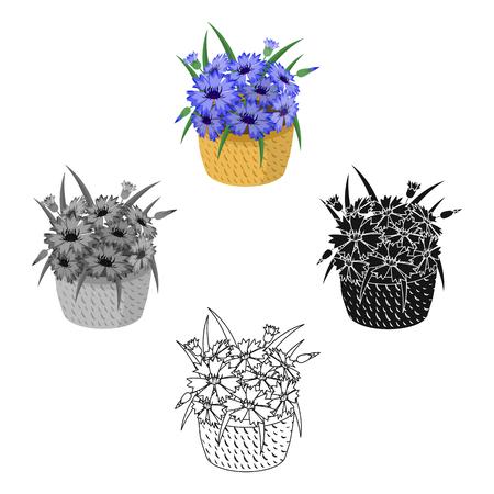 A bouquet of fresh flowers single icon in cartoon,black,black,monochrome,outline style for design. Bouquet vector symbol stock illustration web. Stock Illustratie