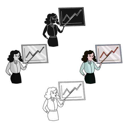 Businesswoman and growing graphic icon in cartoon,black style isolated on white background. Conference and negetiations symbol stock vector illustration.