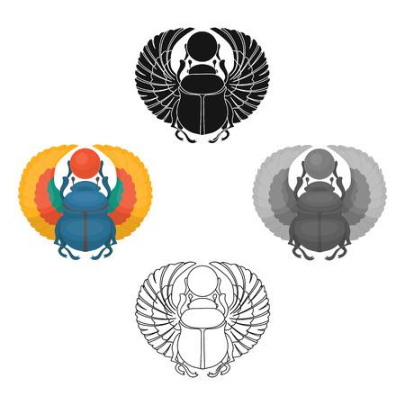 Escarabajo egipcio antiguo egipto iconos individuales en estilo de dibujos animados, negro. Solo grande del símbolo de la ilustración del vector del antiguo egipto Ilustración de vector