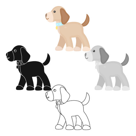 Walking the dog vector icon in cartoon,black style for web Illustration