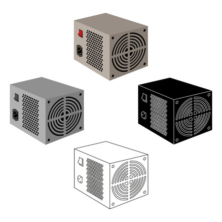Power supply unit icon in cartoon,black style isolated on white background. Personal computer accessories symbol stock vector illustration.