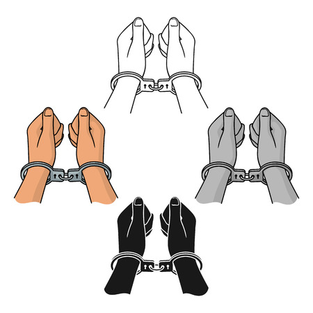 Hands in handcuffs icon in cartoon,black style isolated on white background. Crime symbol stock vector illustration.